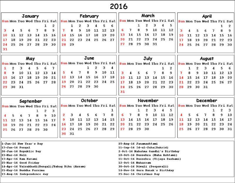 Calendar 2016 Printable With Holidays India