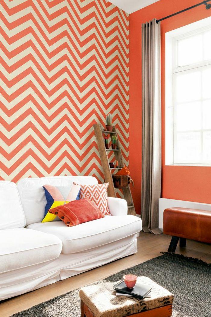wohnzimmer tapeten ideen zig zag muster weißes sofa - wohnzimmer modern tapezieren