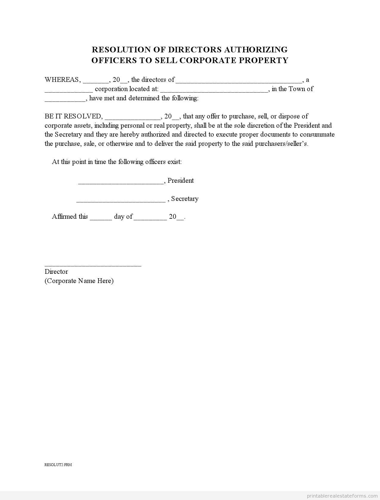 Sample Printable Corporate Resolution To Sell Property Form