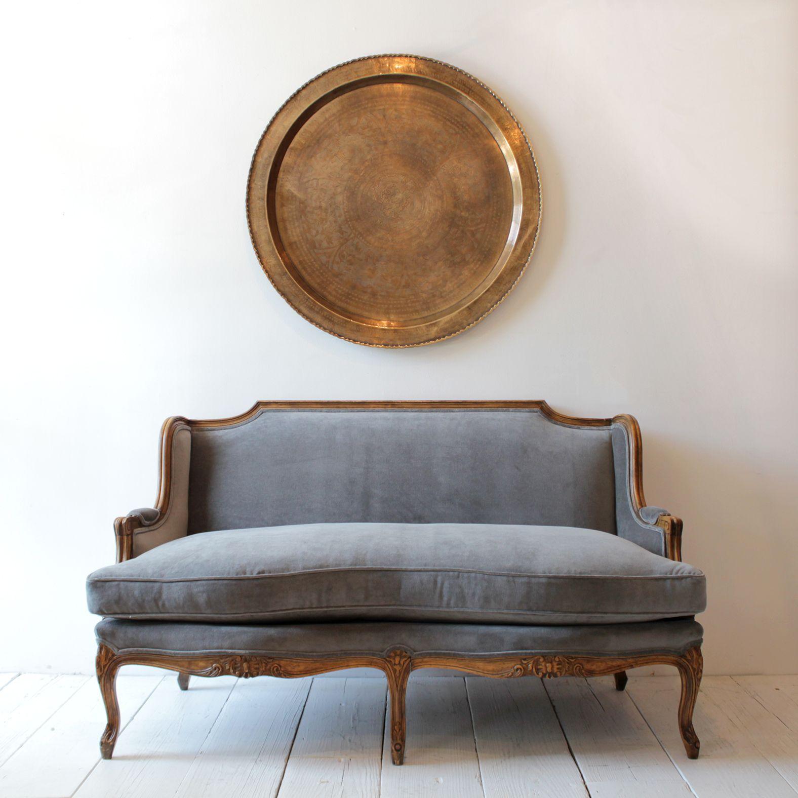 Antique velvet chair - Vintage Settee Reupholstered In Grey Velvet From Nickey Kehoe