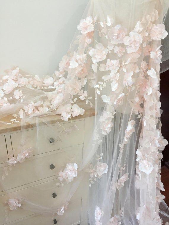 3D volle Blüte Blume Tüll Spitze Stoff in erröten aus weiß
