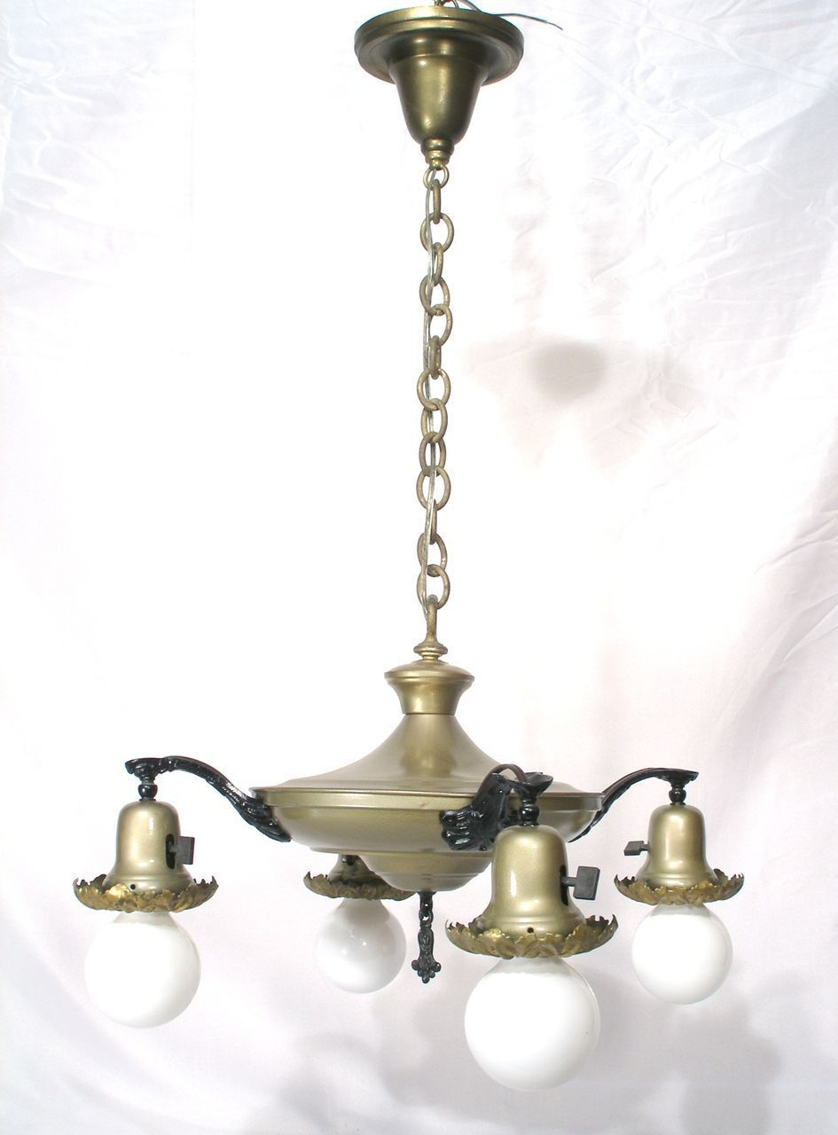 Vintage 4 bell dome light pan flying saucer style chandelier hanging we are offering a vintage art deco pan flying saucer style 4 light chandelier with ornate bell light fixtures this gorgeous chandelier features an arubaitofo Gallery