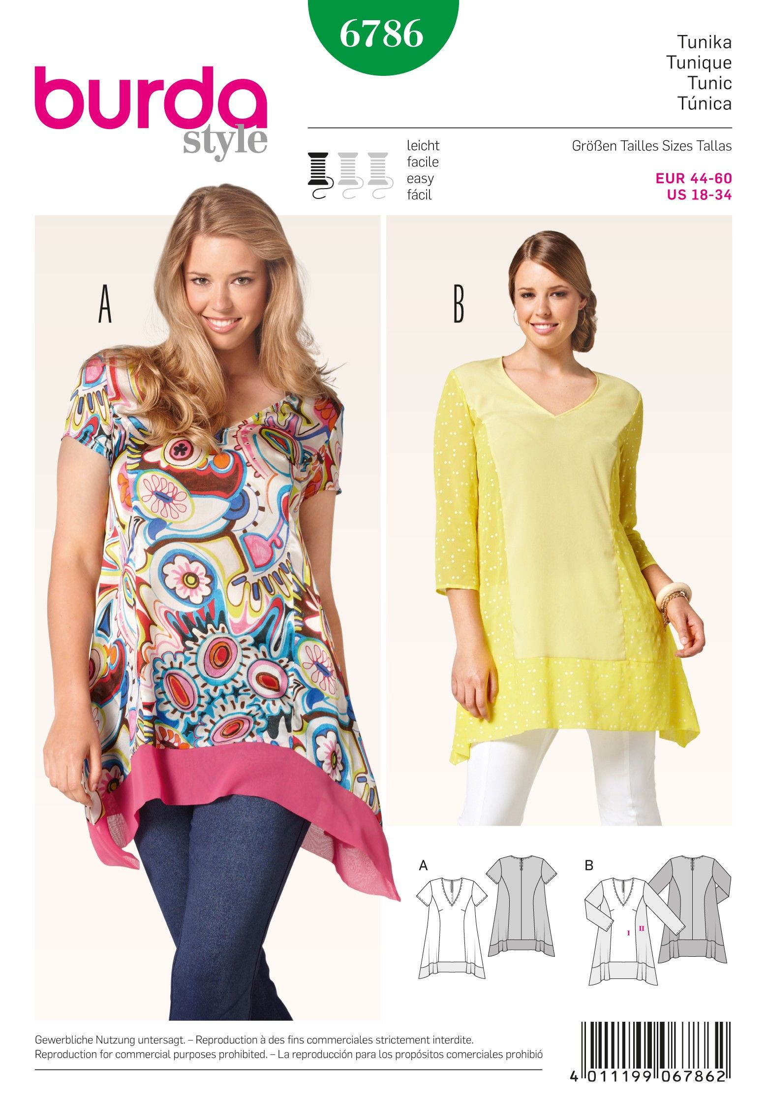 B6786 - Burda Style Tops & Tunics (Plus-Size) … | Costura ...