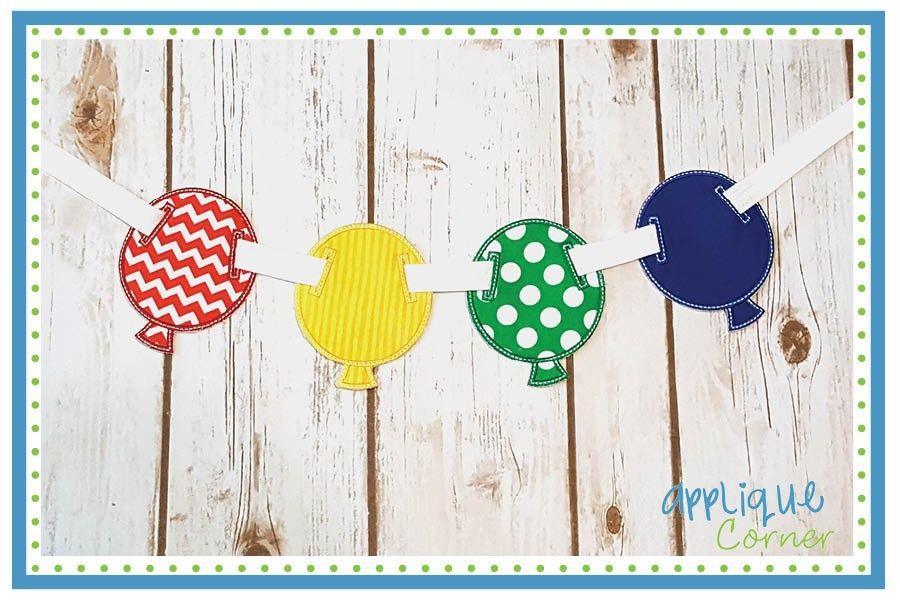In The Hoop Balloon Banner Applique