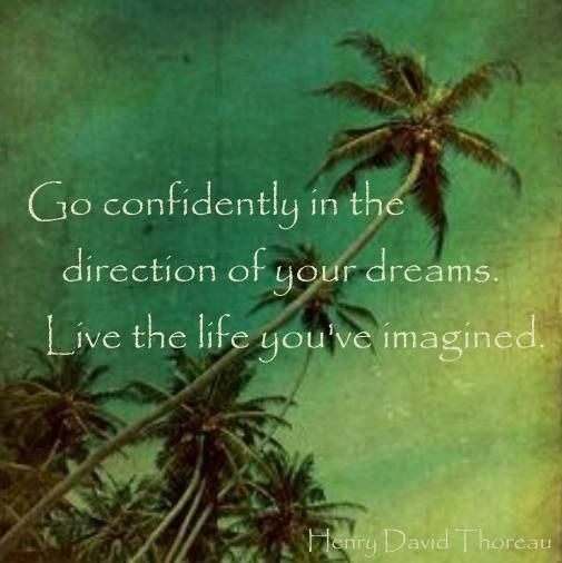 Go confidently in the direction of your dreams. Live the life you've imagined.   Henry David Thoreau