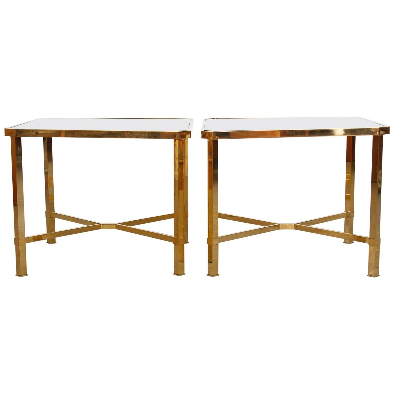 Pair of maison jansen style gold plated coffee tables