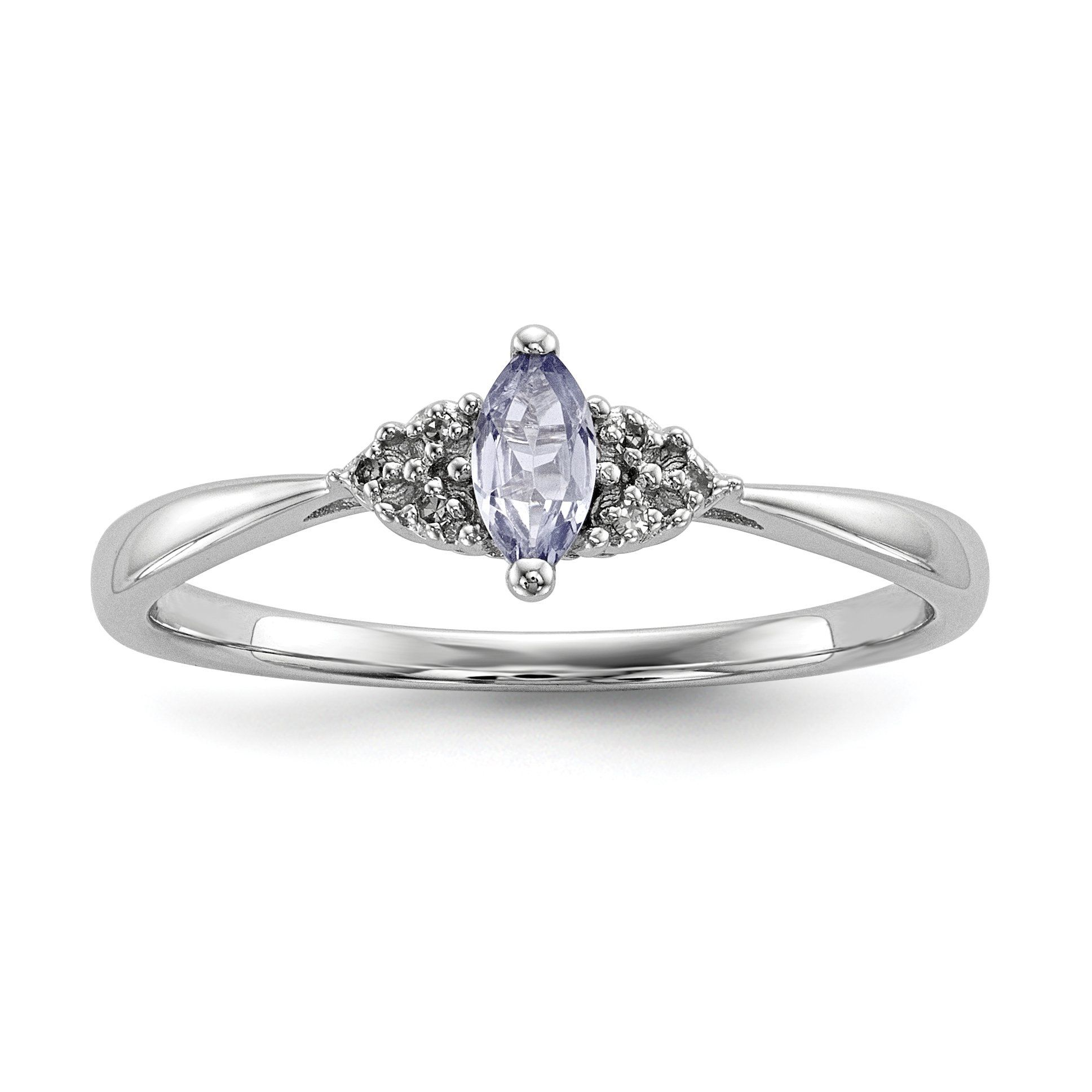Sterling Silver Marquise Genuine Tanzanite and Diamond Accented