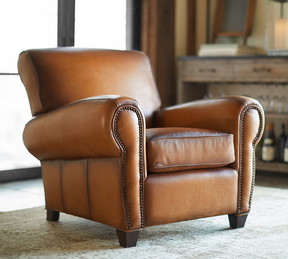 Manhattan Leather Armchair With Nailheads Armchair Leather Recliner Leather Chair With Ottoman