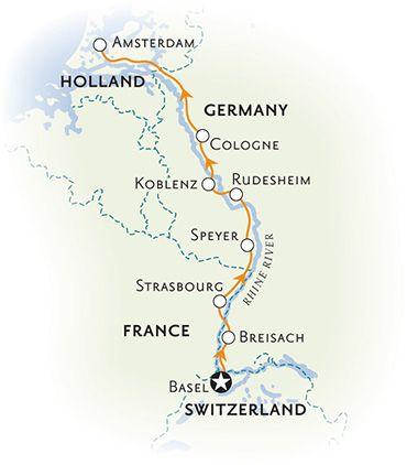 Rhine River Cruise Bike Tour Map Rhine River Cruise Cruise Tours