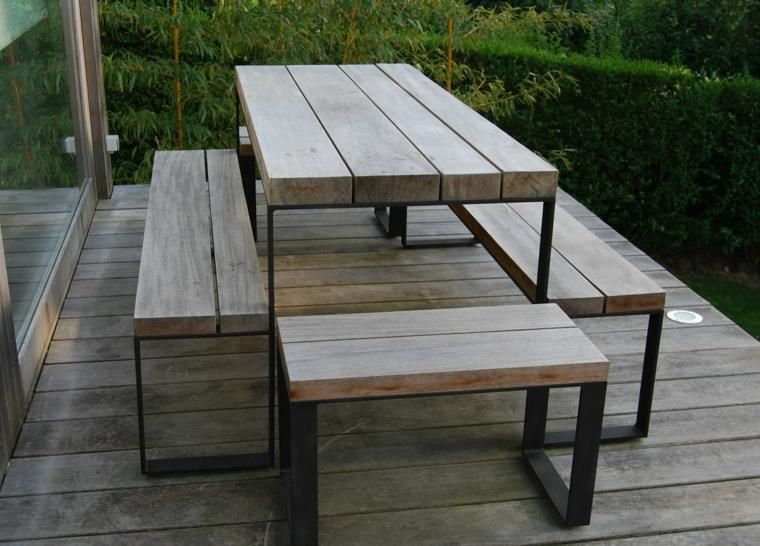 Essen Im Freien Oder Essen 100 Ideen Fur Ihren Garten Neueste Dekor Holzesstische Quadratische Tische Gartentisch Mit Stuhlen