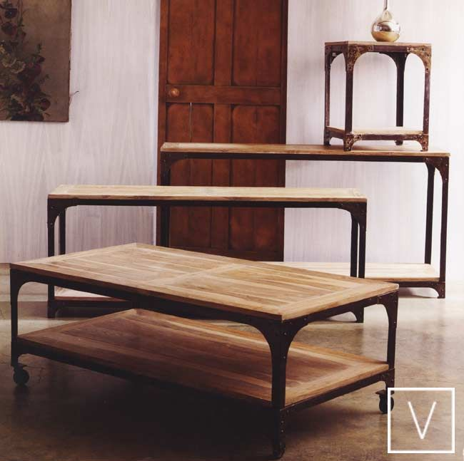 Eiffle Tower Inspired Recycled Teak Top Iron Framework 1475 Family Room Decorating Entry Table Coffee Table