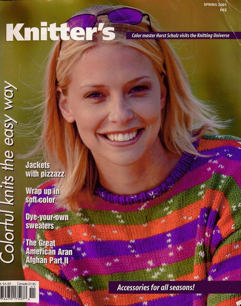 Knitters 62 Spring 2001 Sweaters Shawls Cape Hats Jacket Aran Afghan #Knitters #KnittingPatterns