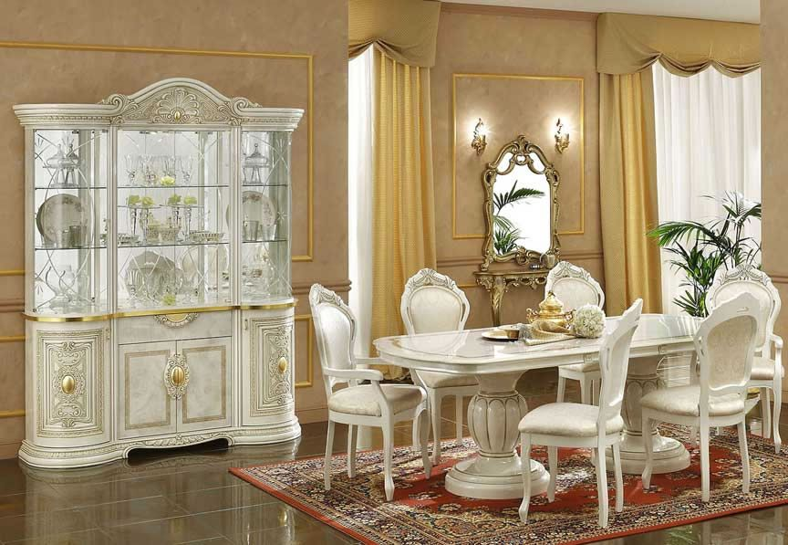 Italian Classic Dining Set In Ivory Luxury Dining Room Tables Italian Dining Table Dining Room Furniture Sets