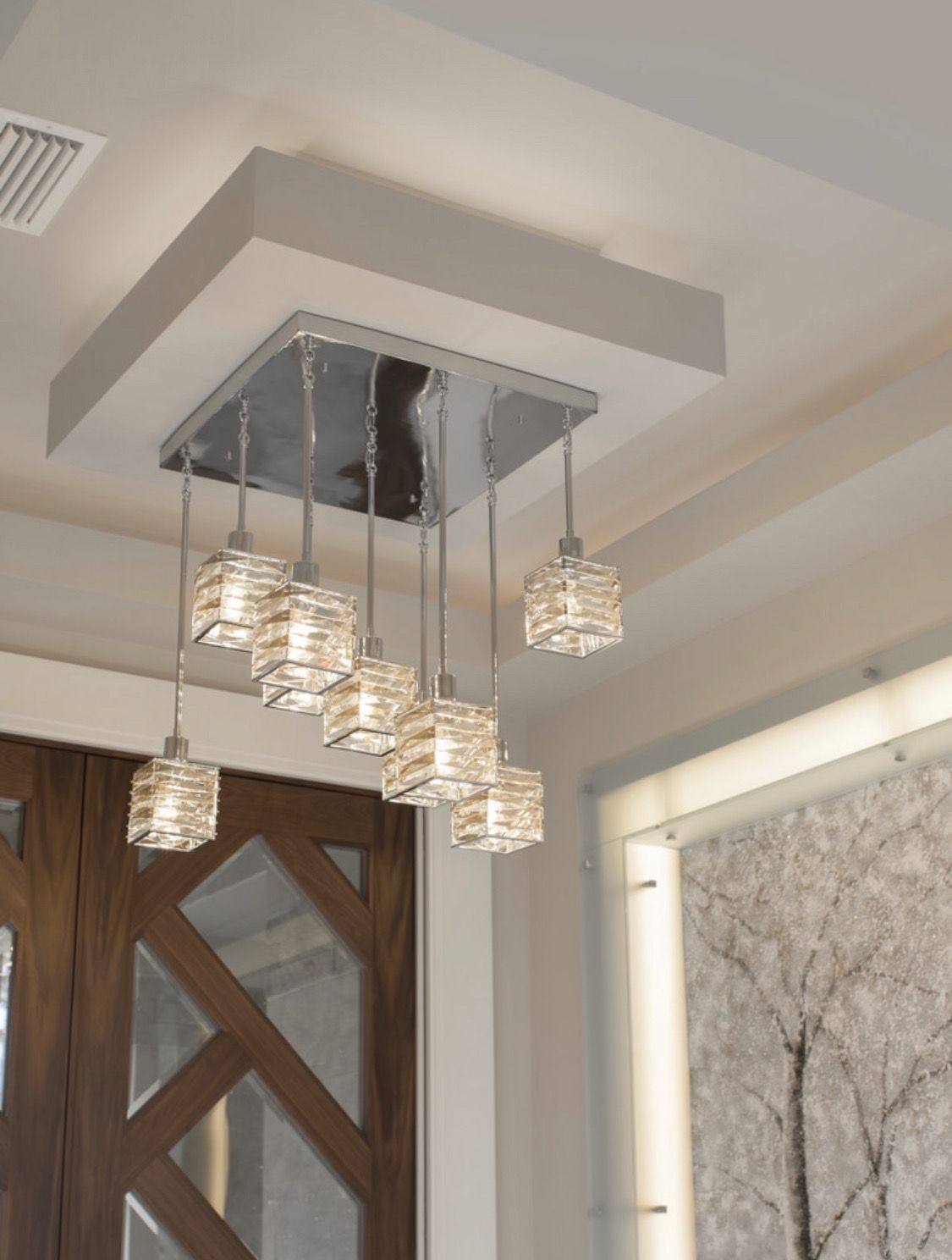The Luxurious Pointe Foyer Light Fixture With Its Champagne And Clear Class Welcomes Guest To Your H In 2020 Foyer Lighting Fixtures Progress Lighting Foyer Lighting