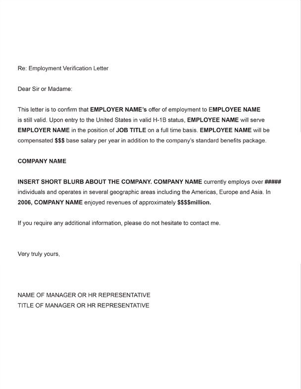 Printable Sample Letter Employment Verification Form