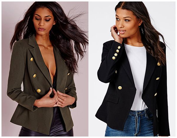 4a2463267d233 Missguided Military Style Blazer in khaki and black, $64.60 (Balmain dupes)