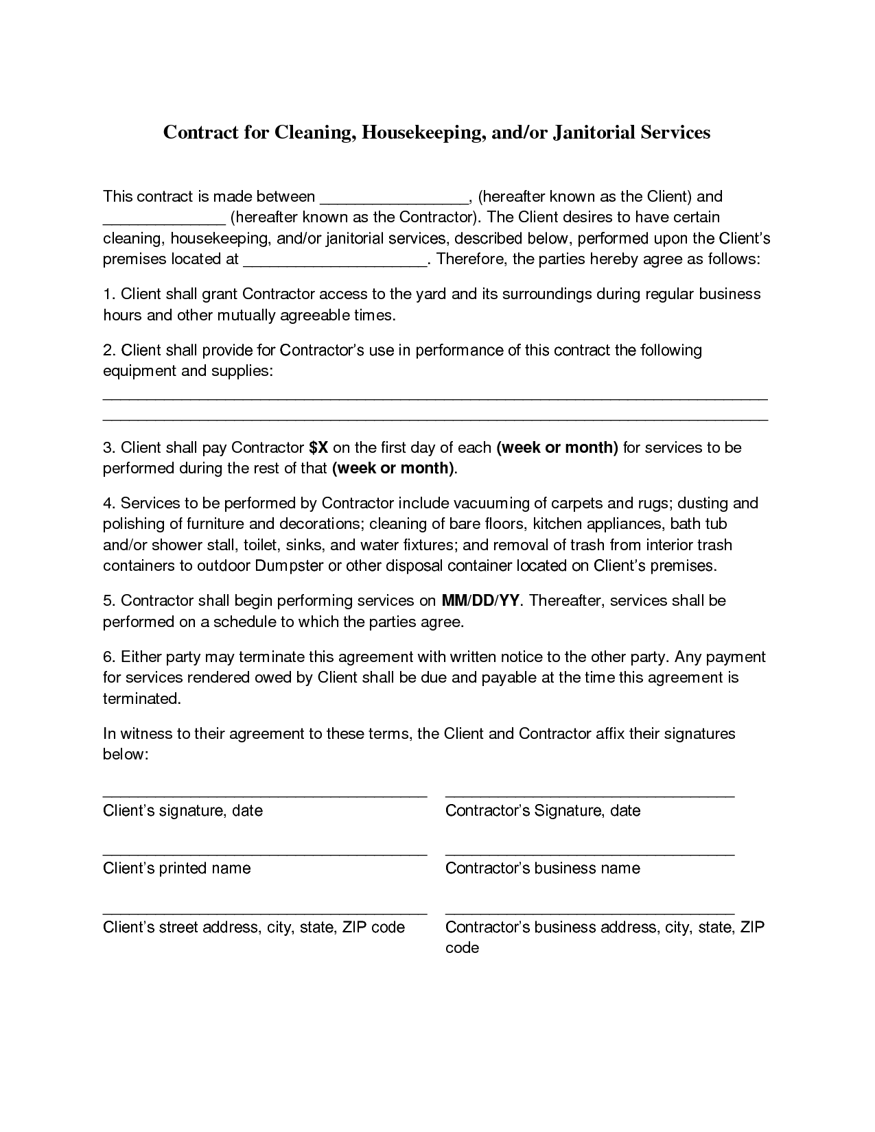 Cleaning Contract Agreement