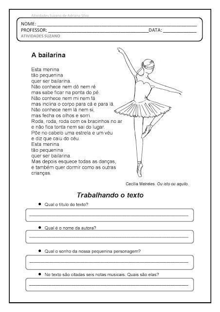 Texto E Interpretacao A Bailarina Pedagogica Docentes