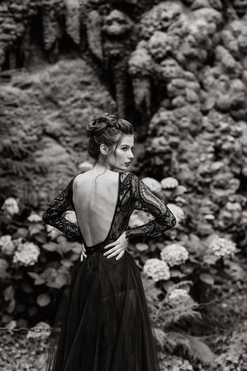 Boho Chic Black Evening Dress Glamorous Open Back Illusion Etsy Black Evening Dresses Evening Dresses Chic Evening Dress [ 1191 x 794 Pixel ]