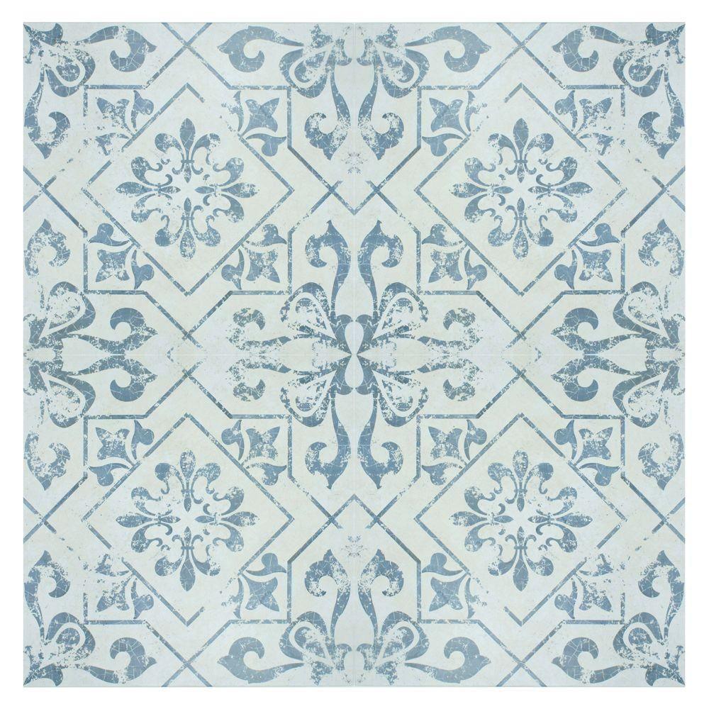 Merola Tile Lotto Cobalto 17-3/4 in. x 17-3/4 in. Ceramic Floor and ...