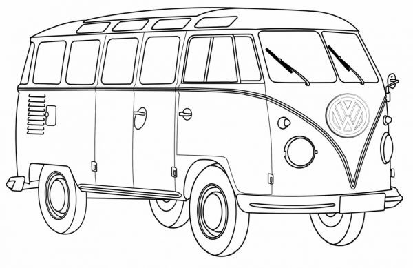 Classical VW Bus Coloring Pages Printable