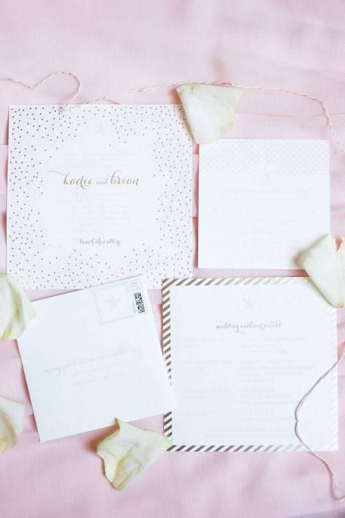Bride Spotlight | Kadie Stark | Poeme | Destination wedding invitation suite | #beach #gold #blush