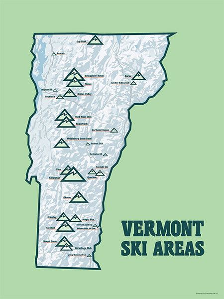 Vermont Ski Resort Map : vermont, resort, Vermont, Resorts, 18x24, Poster, Resorts,, Skiing,, Resort