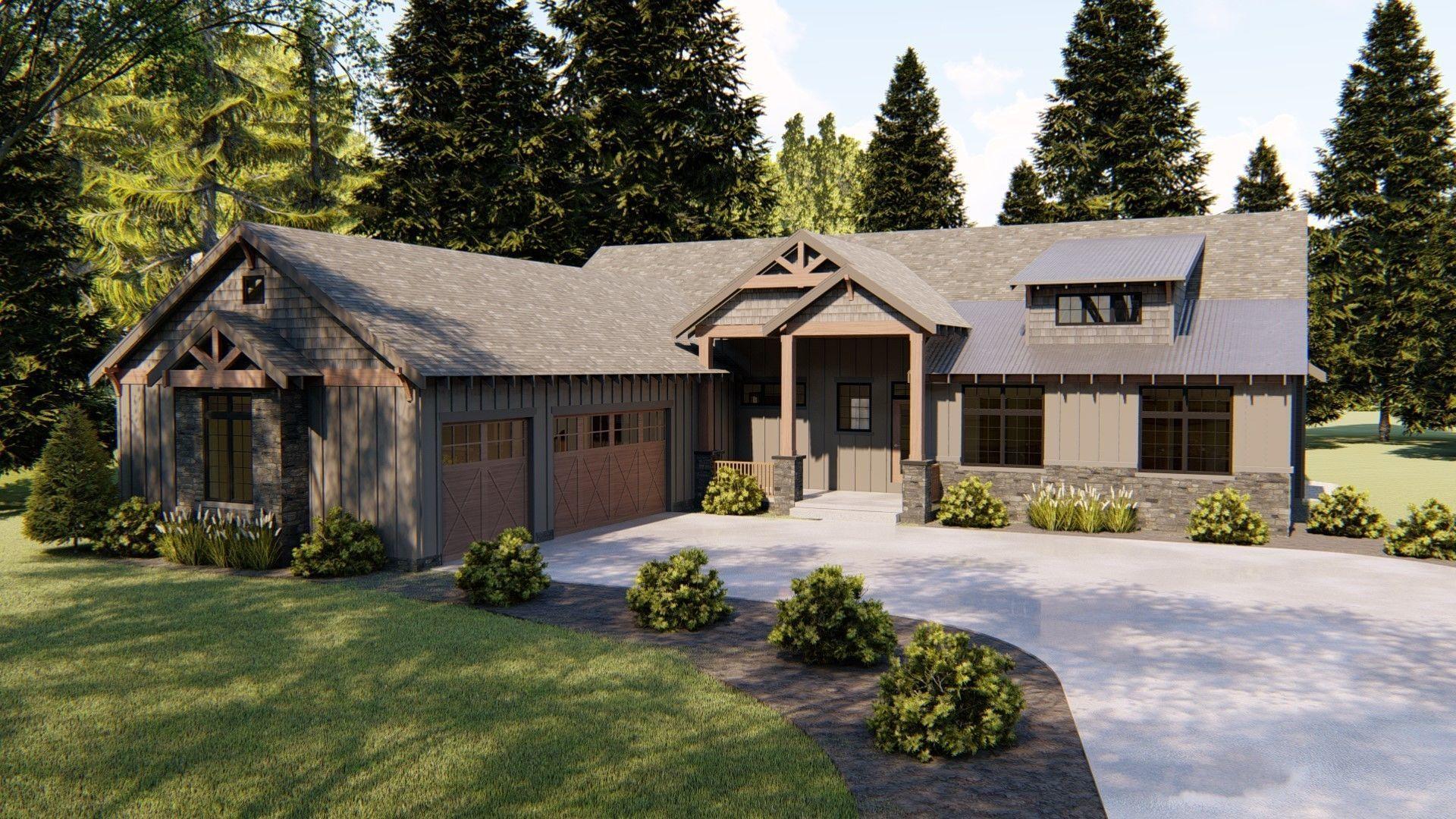 1 Story Craftsman Plan Ozark Craftsman House Craftsman House Plans Mountain House Plans