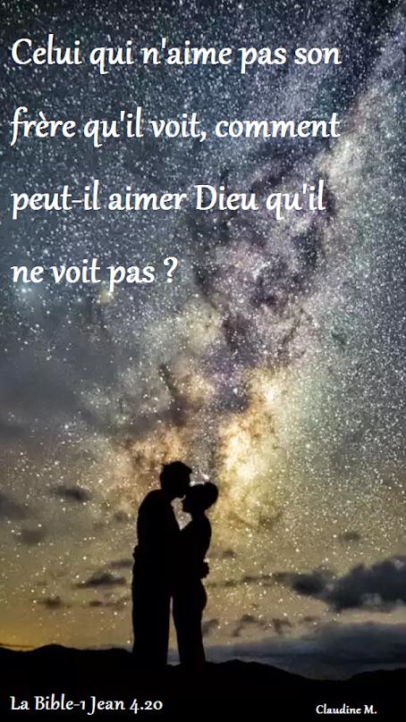 C'est en aimant les hommes que nous montrerons que nous aimons DIEU. Si nous disons que nous aimons  CELUI (Dieu) qu'on ne VOIT PAS, alors que l'on ne peut pas aimer celui(l'homme) que l'on VOIT, nous sommes des menteurs, selon la Parole de Dieu.                                              *  *  *         BONJOUR :-) je vous souhaite une journée remplie d'amour ♥  Claudine Michau - Google+