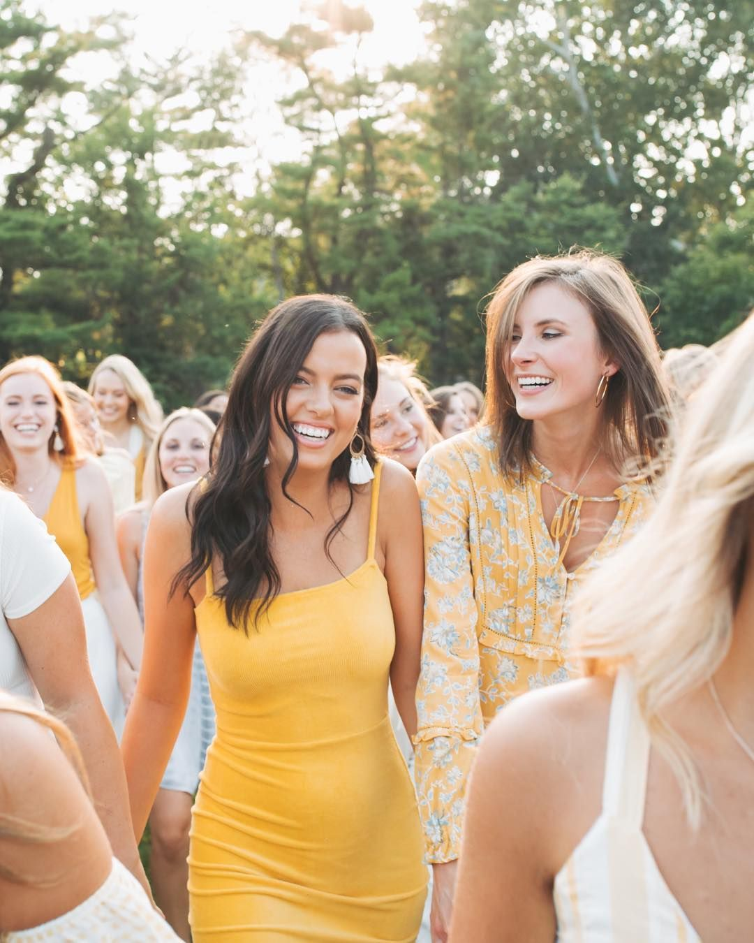 Yellow White Outfit Color Scheme Sorority Outfits Sorority Photoshoot Recruitment Outfits [ 1350 x 1080 Pixel ]