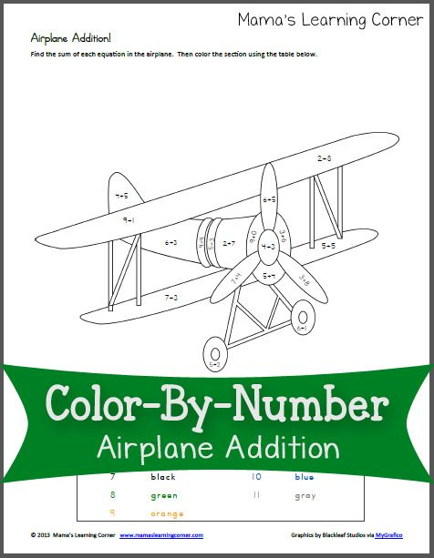 color by number airplane addition number worksheets worksheets and airplanes. Black Bedroom Furniture Sets. Home Design Ideas
