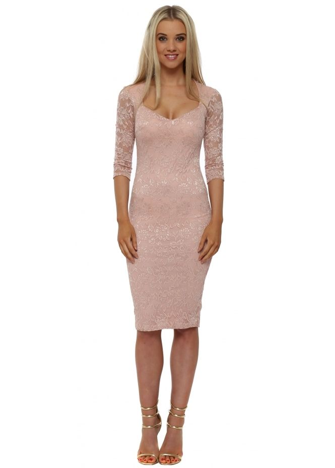 060efd81d3b8 GODDESS LONDON Nude Lace Sweetheart Neckline Midi Dress   Goddess ...