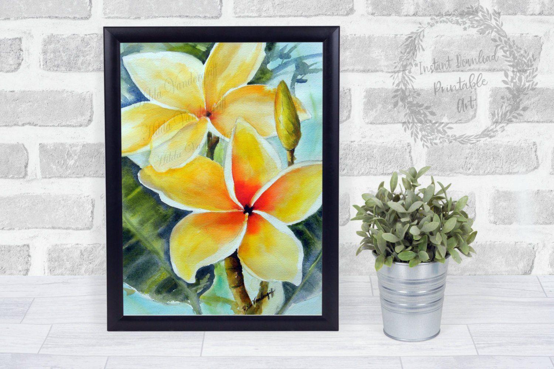 Yellow Plumeria Flower Instant Downloadable Art Print Hawaiian Printable Wall Art Wall Decor Digital Ar With Images Printable Wall Art Trendy Wall Art Orange Wall Art