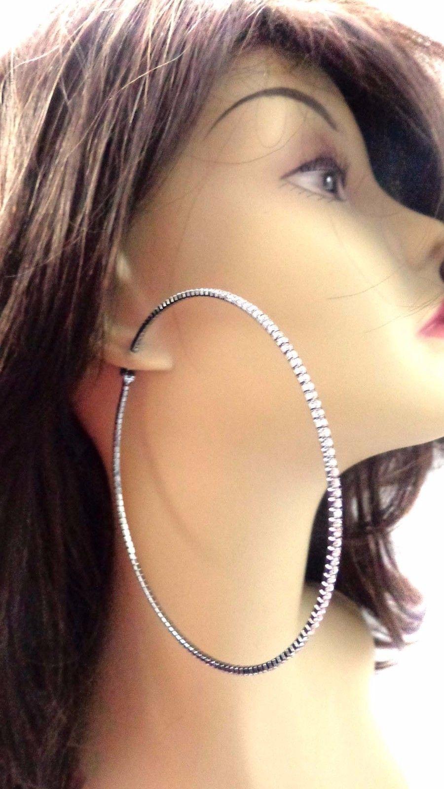 Large 4 Inch Hoop Earrings Rhinestone Crystal Hoops Skinny Black