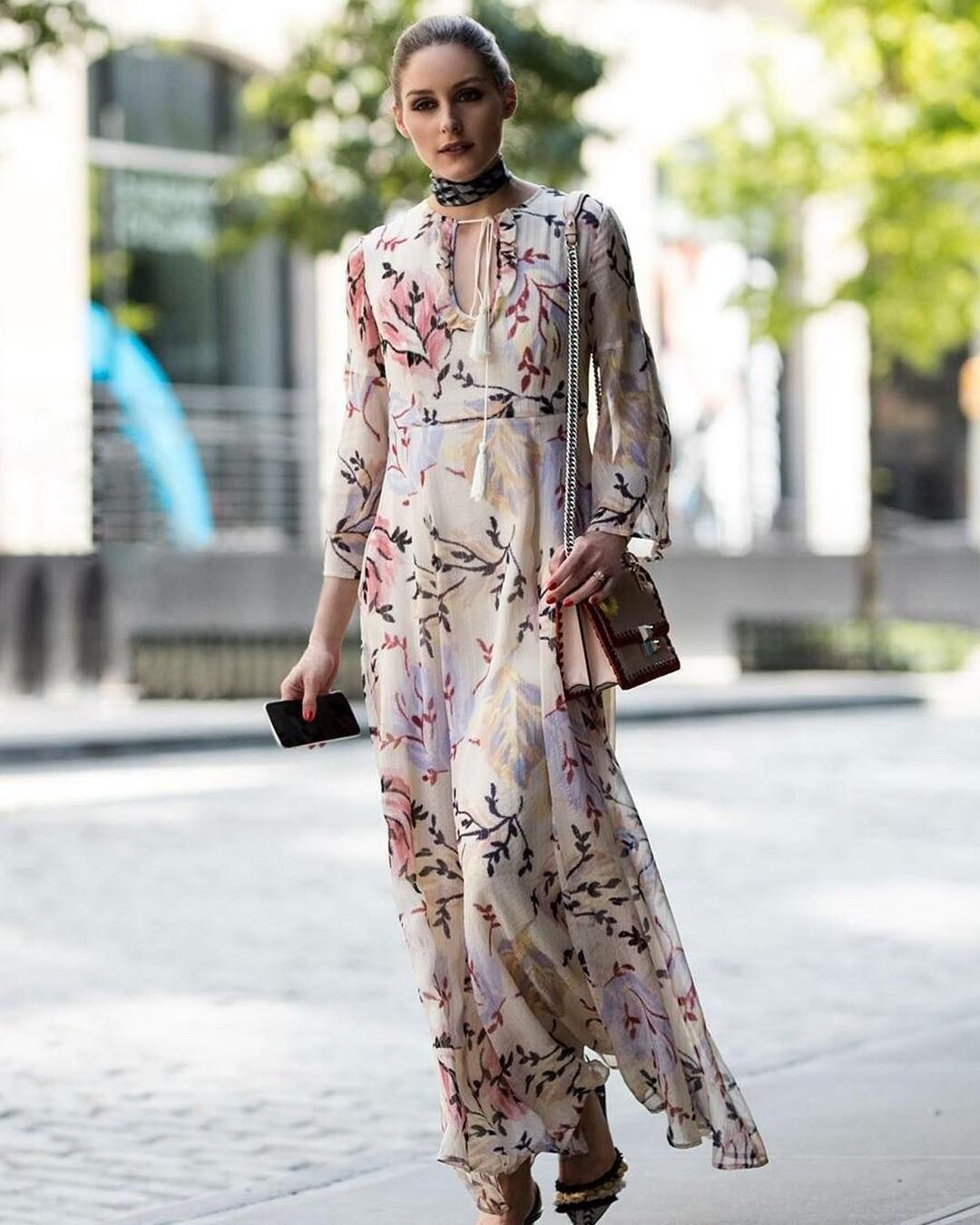 50846d80c0e Style...Olivia Palermo August 2018   Long sleeve floral print maxi dress