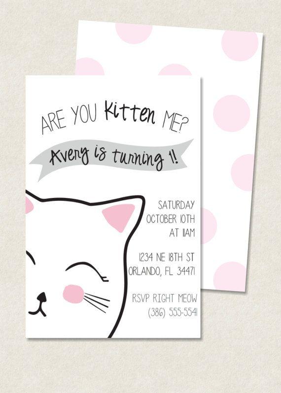 Kitty Birthday Invitation Photo Option Available Jordyn