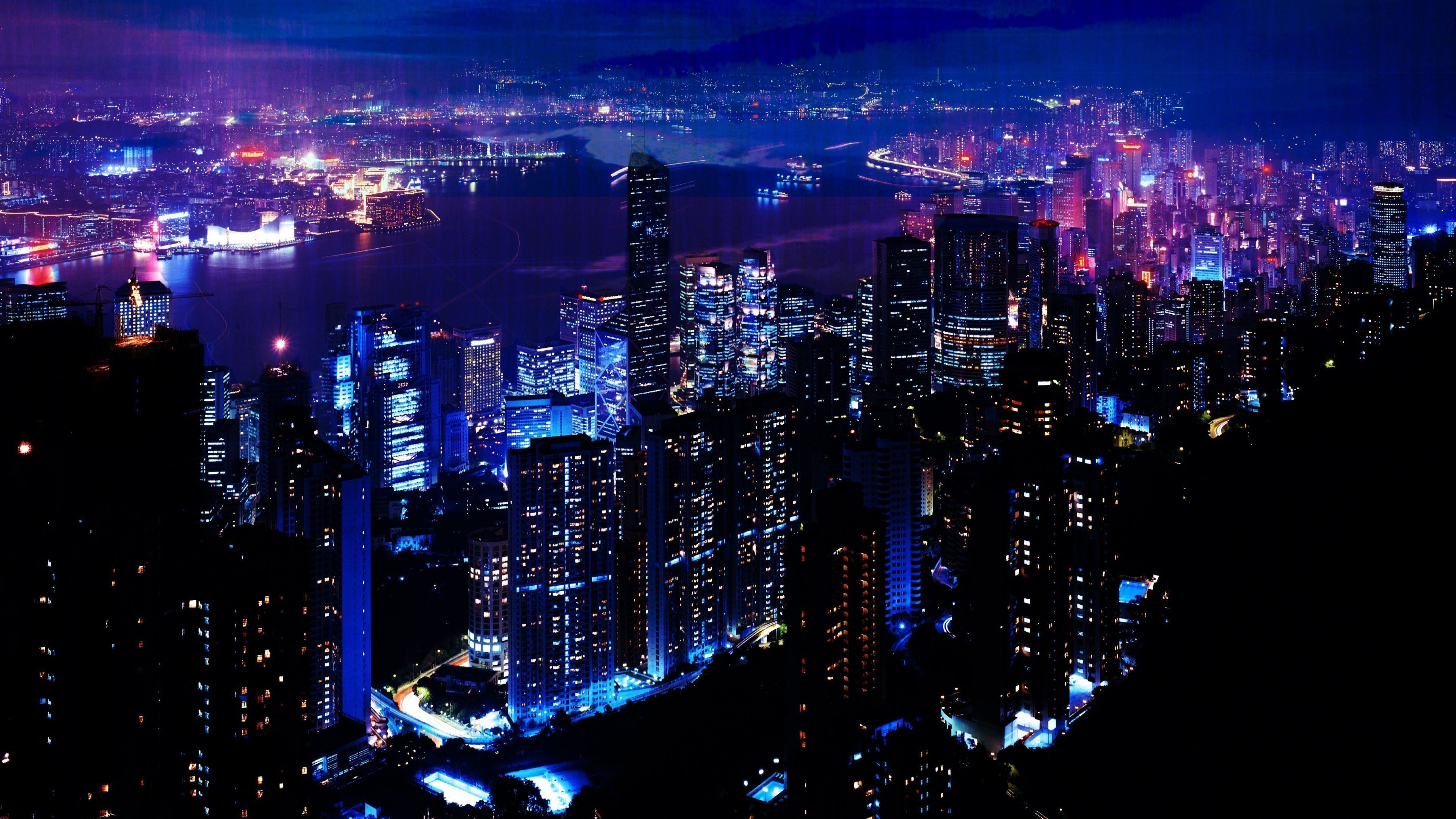 3840x2160 Download Wallpaper 3840x2160 Night City Sky