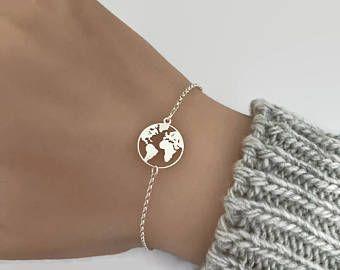 Sterling Silber Weltkarte Armband, verstellbares Armband, Reisen Schmuck Geschenk, ...