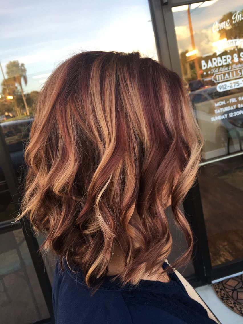 Rusk Copper Violet Base Balayage Highlights Angle Bob Curl With