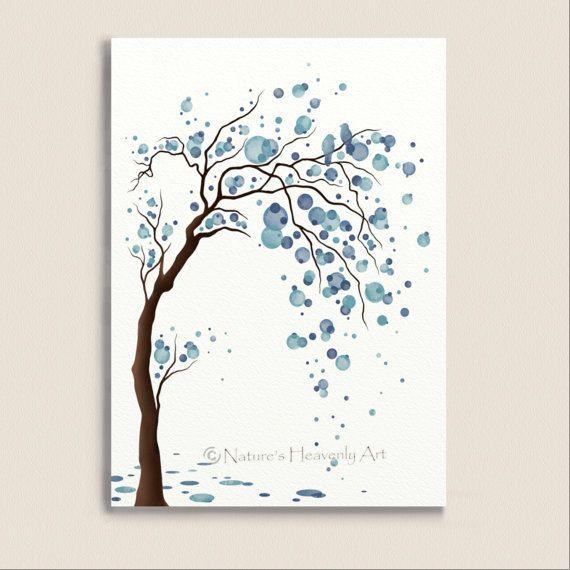 Abstract Wall Art 5 X 7 Print Fantasy Watercolor Tree Winter Blue Decor Love Birds Circles Home Decorating