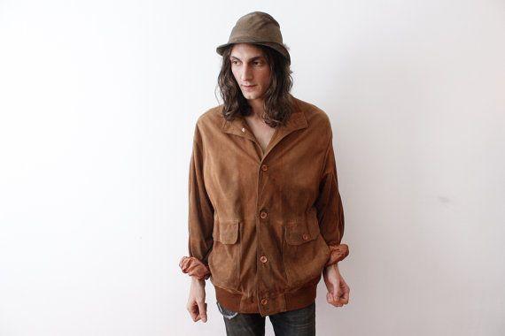 Vintage Brown Suede Leather Jacket Men Unisex Boho by ThePenduline