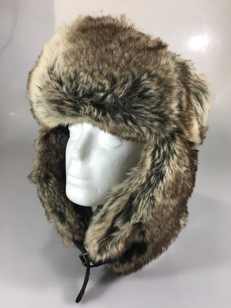 H M Unisex One Size Ushanka Faux Fur Brown Bomber Trapper Hat in ... 6f7b0d99aacb