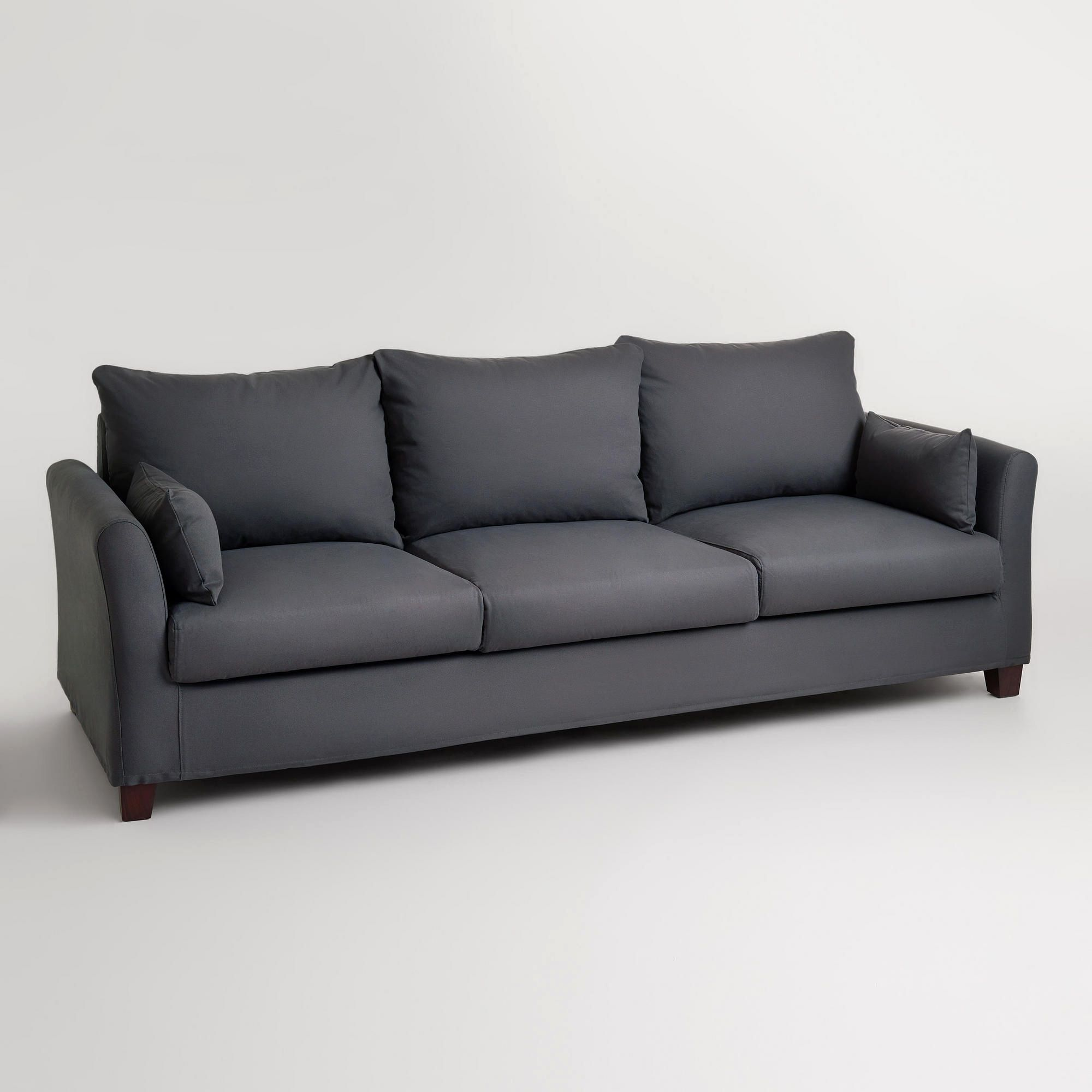 Unique 3 Seat Sofa Cover Picture Charcoal Canvas Luxe 3 Seat Sofa Slipcover  Sofa Slipcovers