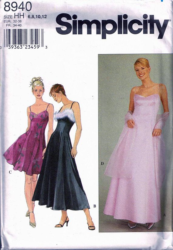 8a2e9c852068 Size 6-12 Misses' Formal Dress Pattern - Spaghetti Strap Dress Knee Length  or Floor Length - A Line