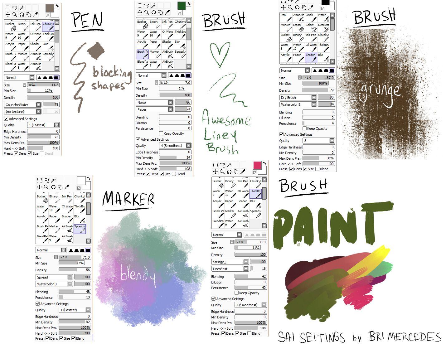 Bri S Paint Tool Sai Brush Settings By Brimercedes On Deviantart Paint Tool Sai Sai Brushes Painting Tools