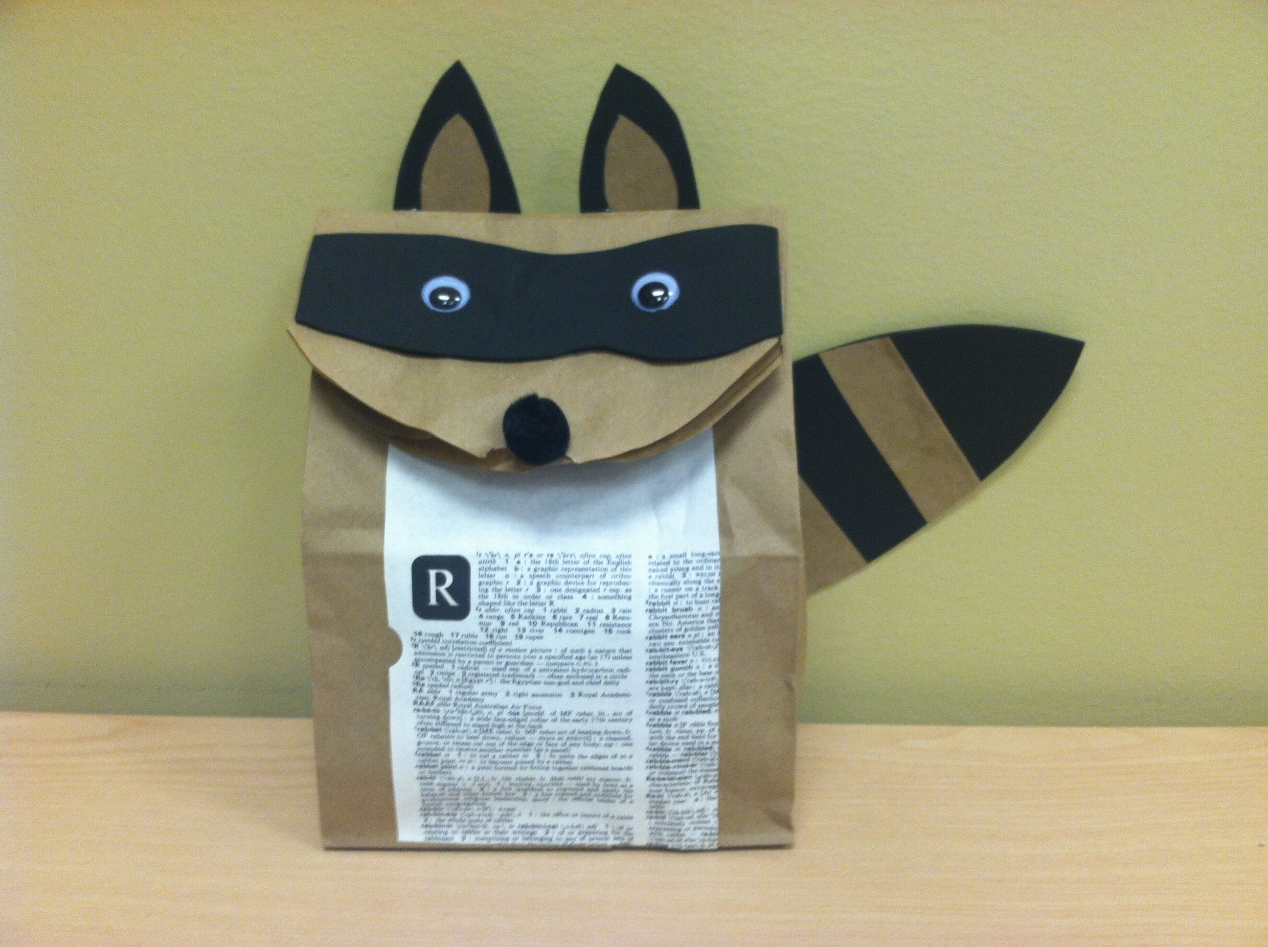 This Paper Bag Raccoon Is Made With Craft Foam Recycled Book