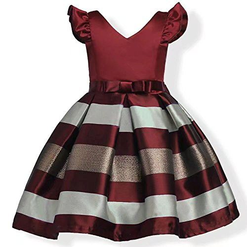 9a8dc5d33 ZAH Girl Dress Kids Ruffles Lace Party Wedding Bridesmaid Dresses (Burgundy,5-6Y