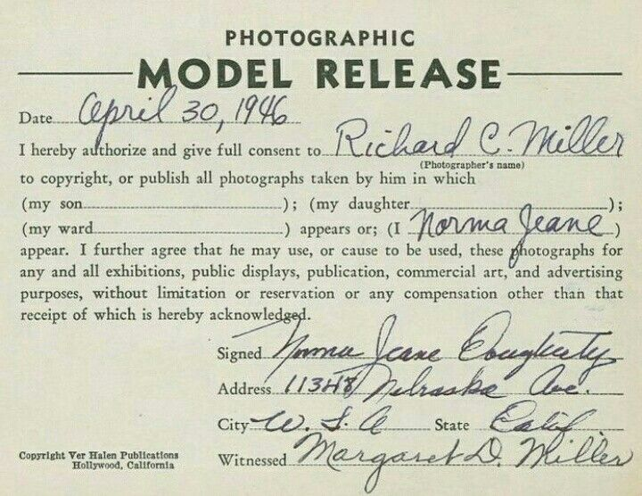 Model release form to work for photographer Richard C Miller - work release forms