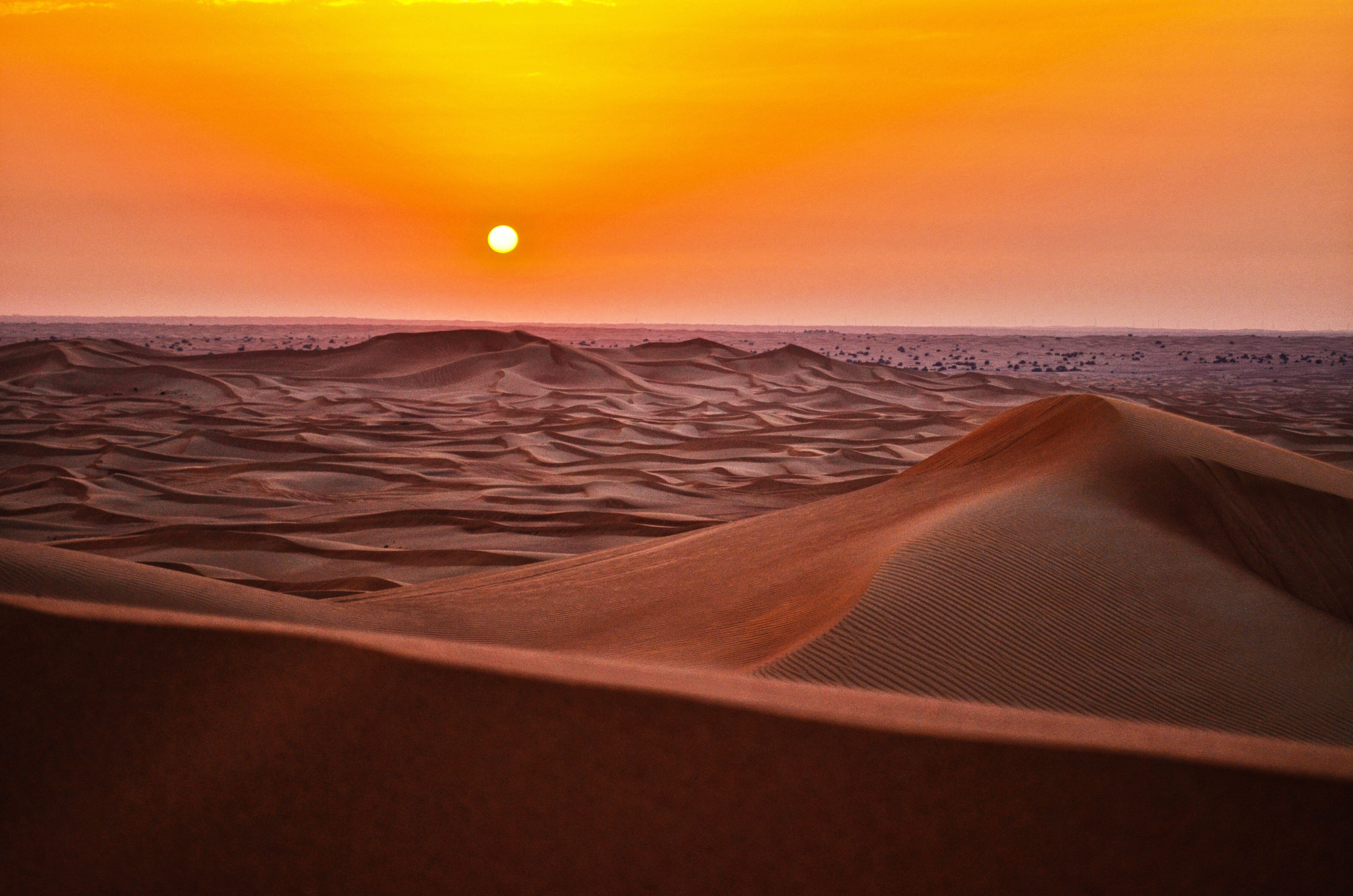The Sun Setting Over The Sand Dunes In The Barren Desert Desert Sunset Desert Pictures Sunset Hd wallpaper sunset desert dunes sand