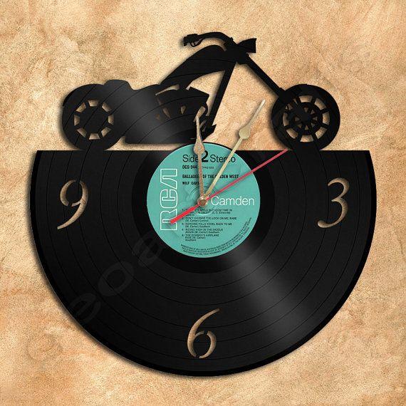 Wall Clock Chopper Motorcycle Vinyl Record Clock by geoartcrafts